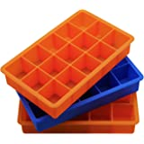 Finnhomy Silicone Ice Cube Trays, 3-Piece Perfect Size Ice Mold Maker Candy Chocolate Mold Set, Orange & Blue