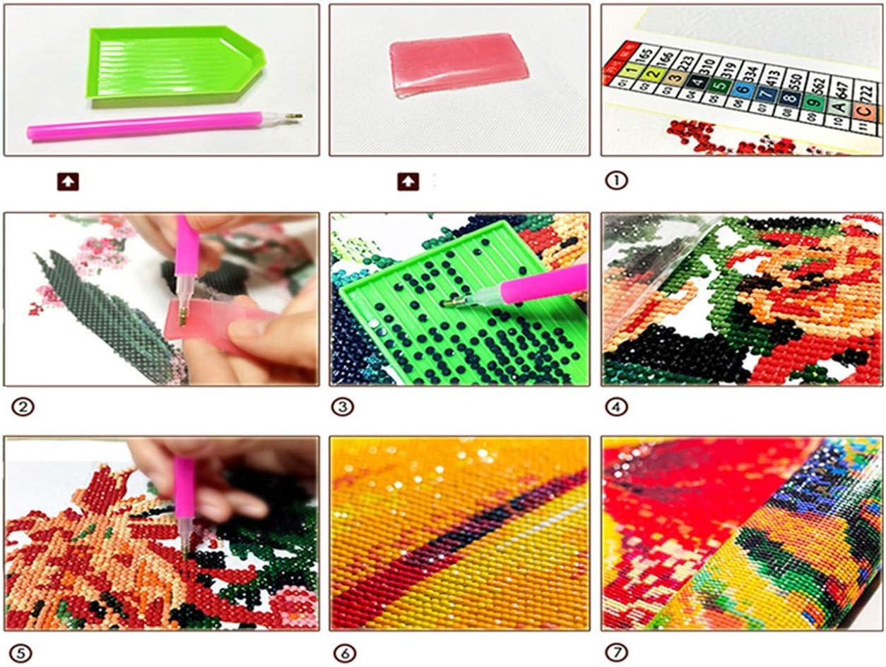 Kit de pintura de diamantes 5D para bricolaje por n/úmeros punto de cruz manualidades diamantes de imitaci/ón con peon/ías im/ágenes flores 40 x 30 cm bordado decoraci/ón de pared para el hogar