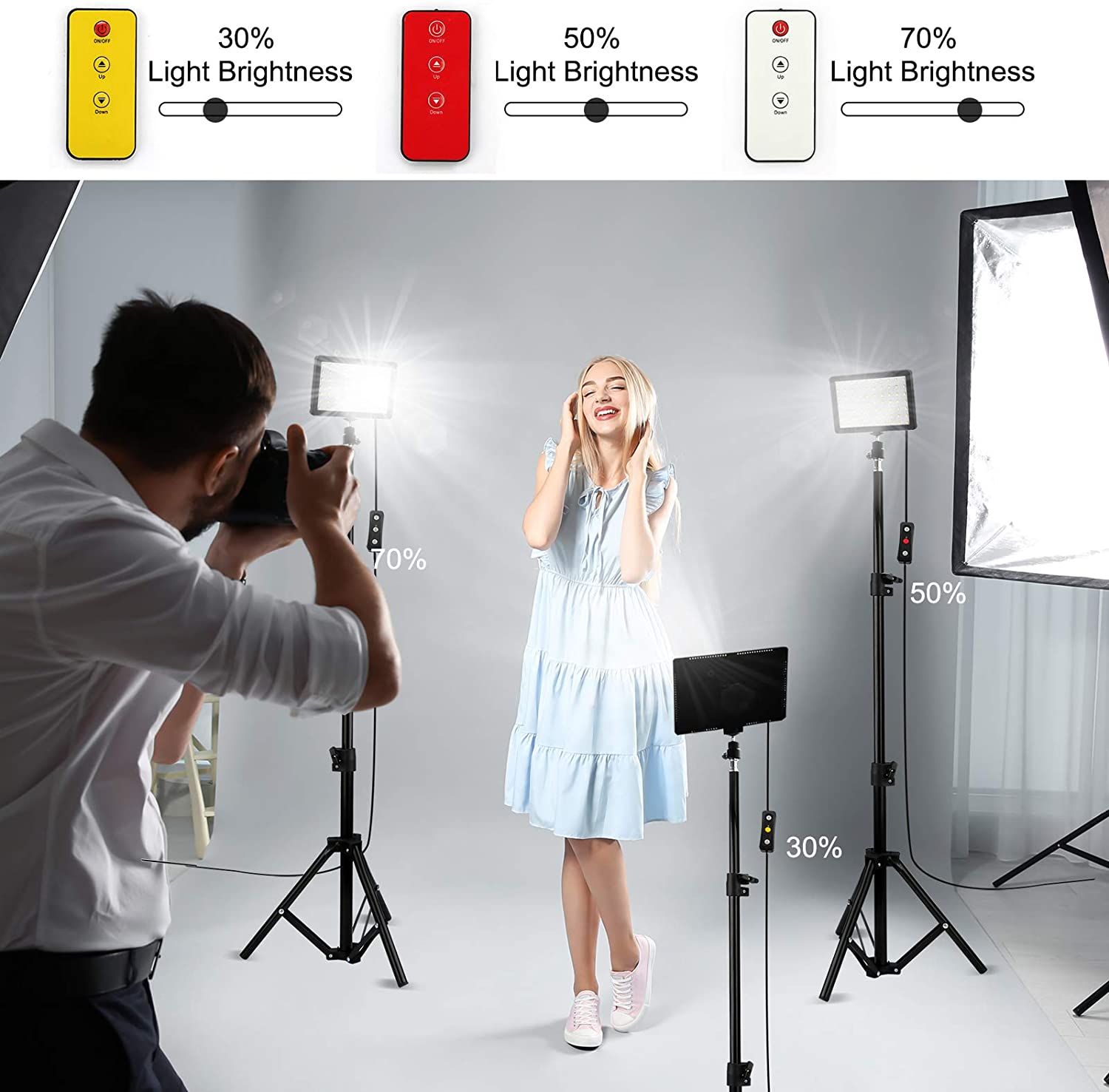 Collection Portrait YouTube Self Broadcast Obeamiu 5600K USB Studio Photography Lighting Kit for Tablet//Low Angle Shooting 3 Packs 70 LED Video Light with Tripod Stand//Color Filters//Remote Control
