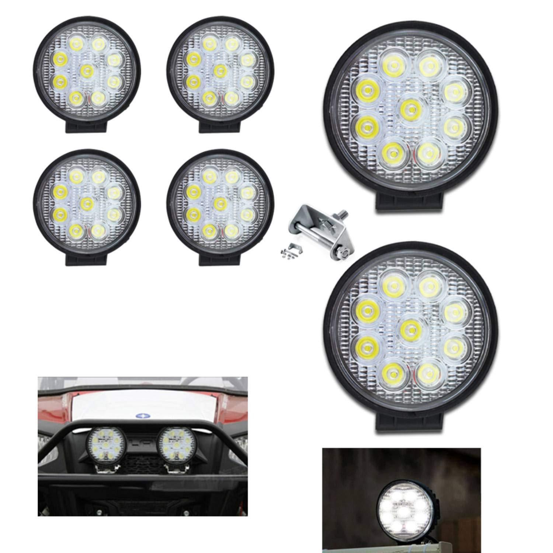 Hengda 2x 27w LED Arbeitsscheinwerfer,Runde Zusatzscheinwerfer IP67 Wasserdicht 2430 LM,10-30V DC,6500K Arbeitsleuchte f/ür SUV Truck Traktor oder schweres Ger/ät