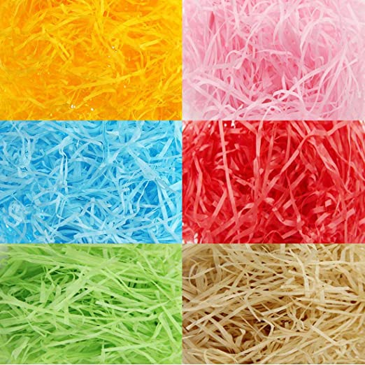 240 g Papel en Tiras de Cesta de Pascua de Multicolor Papel de Seda Raffia Hierba Papel Arrugado Rallado para Rellenar Caja de Regalo (Conjunto de Colores 6): Amazon.es: Hogar