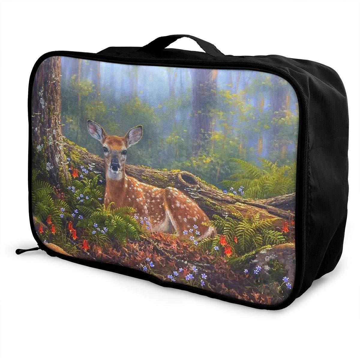 Travel Luggage Duffle Bag Lightweight Portable Handbag Deer Pattern Large Capacity Waterproof Foldable Storage Tote