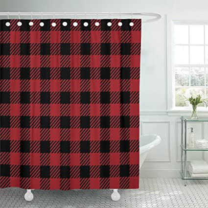 Emvency Shower Curtain Curtains Red Basket Buffalo Plaid Design Black Lumberjack Picnic Abstract Checkered Cooking 60quot