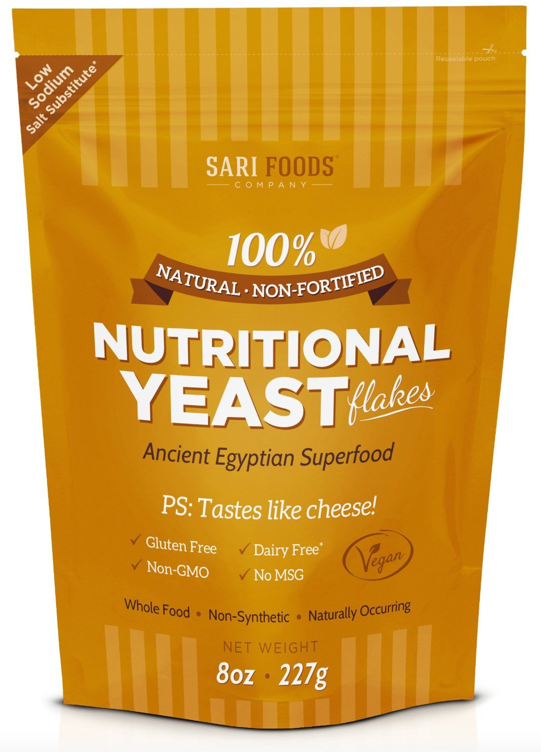 Pure Natural Non-fortified Nutritional Yeast Flakes, 8 oz. Whole food based Vitamin B complex, beta-glucans and all 18 Amino Acids protein powder.
