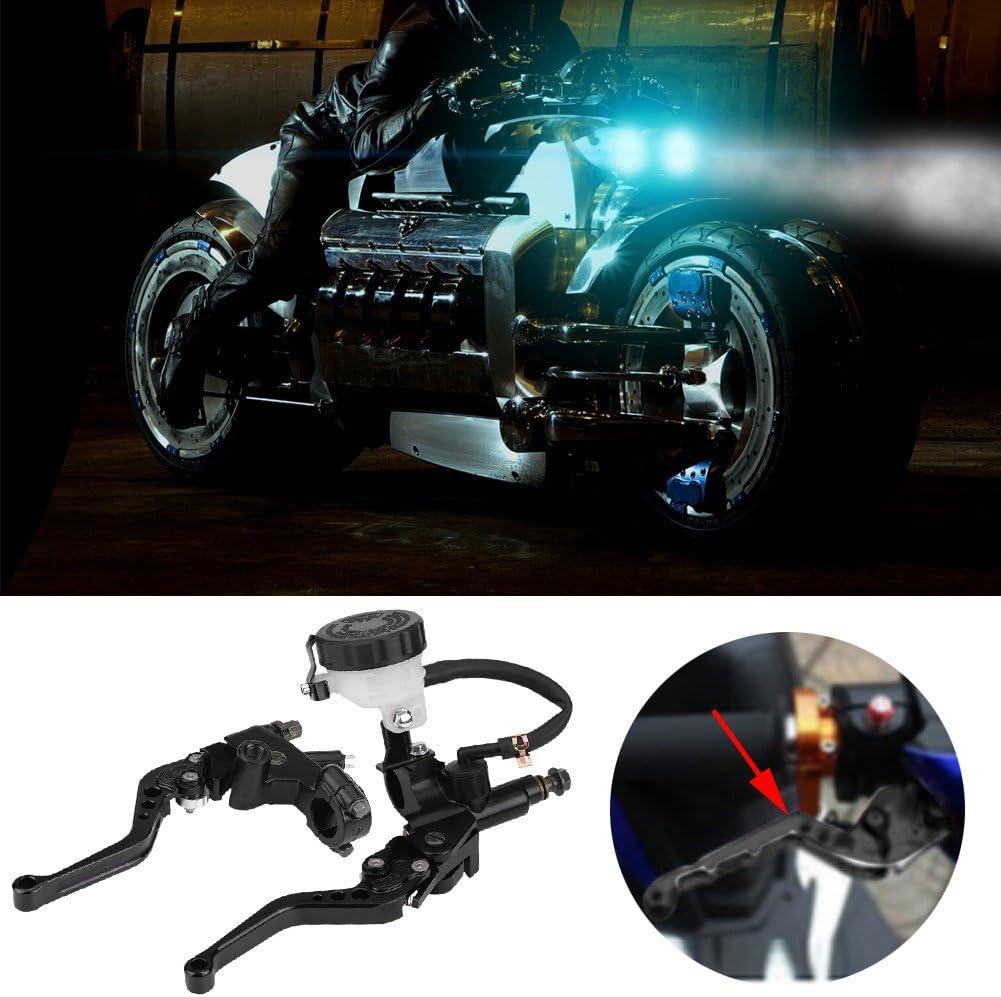 Embrague de freno de motocicleta Cilindro maestro Palancas de dep/ósito Conjunto Palanca de embrague hidr/áulico Negro KIMISS Universal 7//8 22 mm