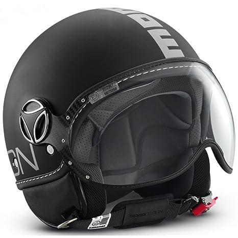 MOMO Design Casco Classic color negro mate/plata, talla L