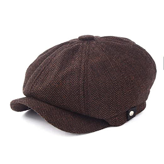 7aeb850b24a Kerr Kellogg Fashion Gentleman Octagonal Cap Newsboy Beret Hat Autumn and Winter  Jason Statham Male Flat Caps Brown at Amazon Men s Clothing store