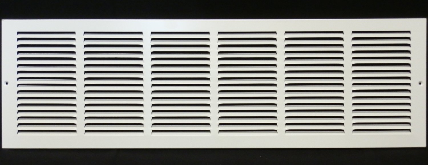 30''w X 6''h Steel Return Air Grilles - Sidewall and Cieling - HVAC DUCT COVER - White [Outer Dimensions: 31.75''w X 7.75''h]