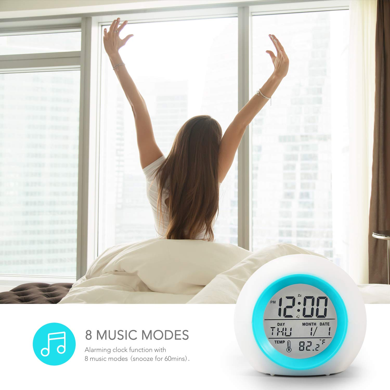 Syntrific Kids Alarm Clock 【2020 Version】,Digital Clock for Girls Boys Kids,7 Color Changing Light 8 Alarm Songs Clock with Indoor Temperature Touch Control Snooze for Bedroom,Bedside Desk Clock