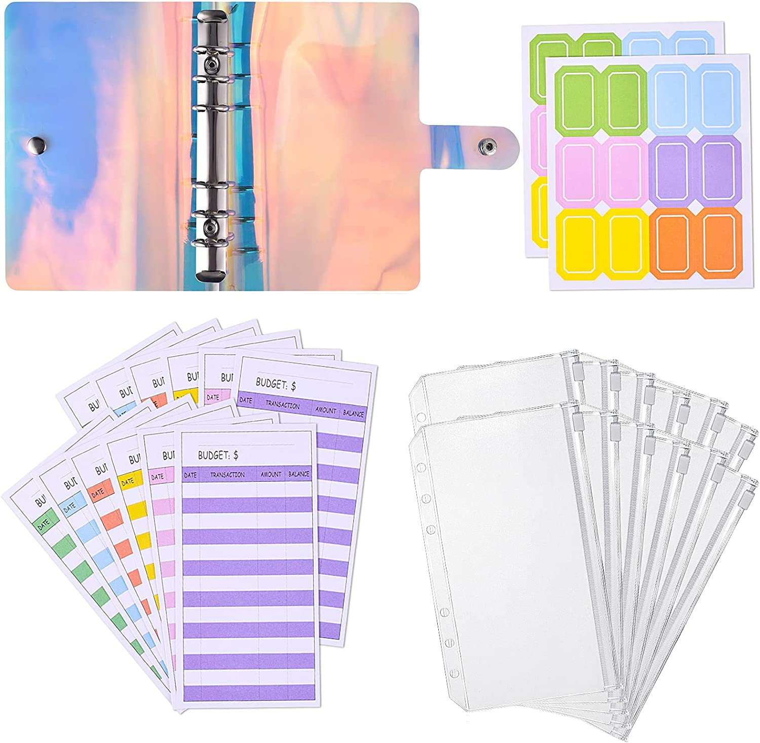 A6 PVC Notebook Binder Cover with 12PCS A6 Binder Pockets, 12PCS Expense Budget Sheets, 24PCS Colorful Sticker Labels, Waterproof 6-Ring Budget Binder Money Saving Cash Envelopes System - iridescent