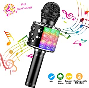 ShinePick Bluetooth Karaoke Microphone, 4 in 1 Wireless Microphone Handheld Portable Karaoke Machine, Home KTV Player, Compatible with Android & iOS Devices(Black)