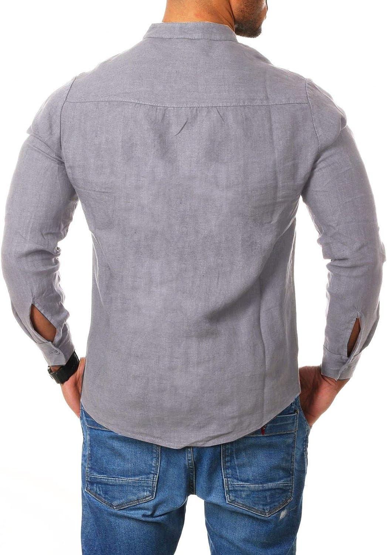 Young /& Rich Herren Leinen Hemd Stehkragen Langarm k/örperbetont leicht tailliert 100/% Leinen H1651