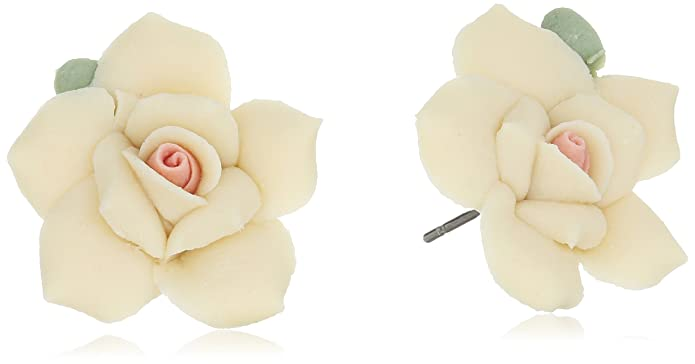 Vintage Style Jewelry, Retro Jewelry 1928 Jewelry Classic Porcelain Rose Post Stud Earrings $16.50 AT vintagedancer.com
