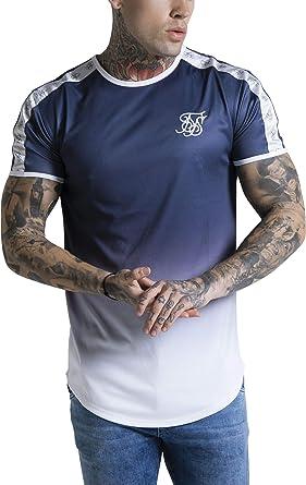 Sik Silk Hombre Camiseta con Estampado de Gimnasia Taped Fade, Azul, X-Large: Amazon.es: Ropa y accesorios