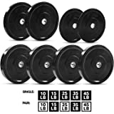 """Olympic Bumper Plate 2"""" – 5 Weights Available (10 to 45lbs) - by D1F- Weighted Plates for Barbells, Bars - Shock…"""