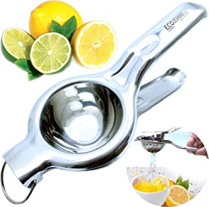 EcoJeannie Premium Quality Lemon Squeezer Stainless Steel w/Food Grade #304 Food Grade, Anti-Corrosive Premium Quality Manual Jumbo Size Squeezer, Manual Citrus Press Juicer