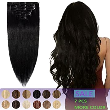 Amazon.com   22 Inch Remy Clip in Hair Extensions Thin 7pcs Clip on Human  Hair75g Strong Machine Weft Straight for Women  1 Jet Black   Beauty 9774c2799f