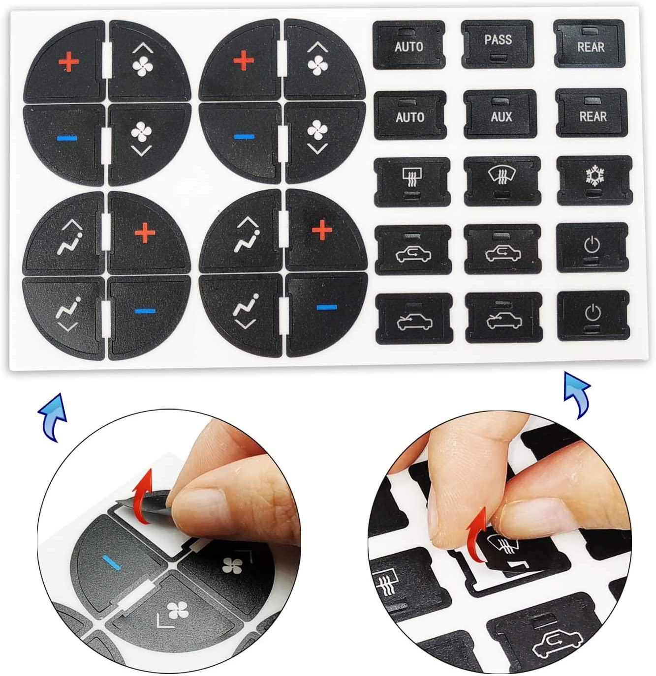 Xilang AC Dash Button Repair Kit GMC Sierra Silverado,Traverse Upgraded A//C Control Replacement Plastic Stickers to fix Worn Ruined Faded Buttons,fits Chevy Tahoe Suburban Acadia,Buick Anclave