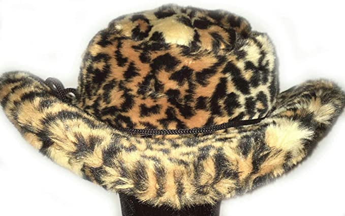 904b35ddf7 Amazon.com  Jaguar Club Cowboy Cheetah Print Pimp Costume Furry Unisex  Adult Hat  Clothing
