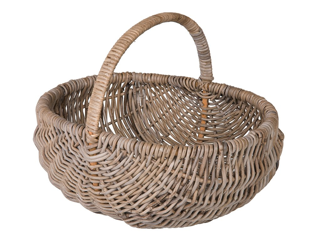 Kouboo 1060144 Kobo Rattan Picnic, Flower and Gift Basket with Arch Handle, Gray Decorative Storage