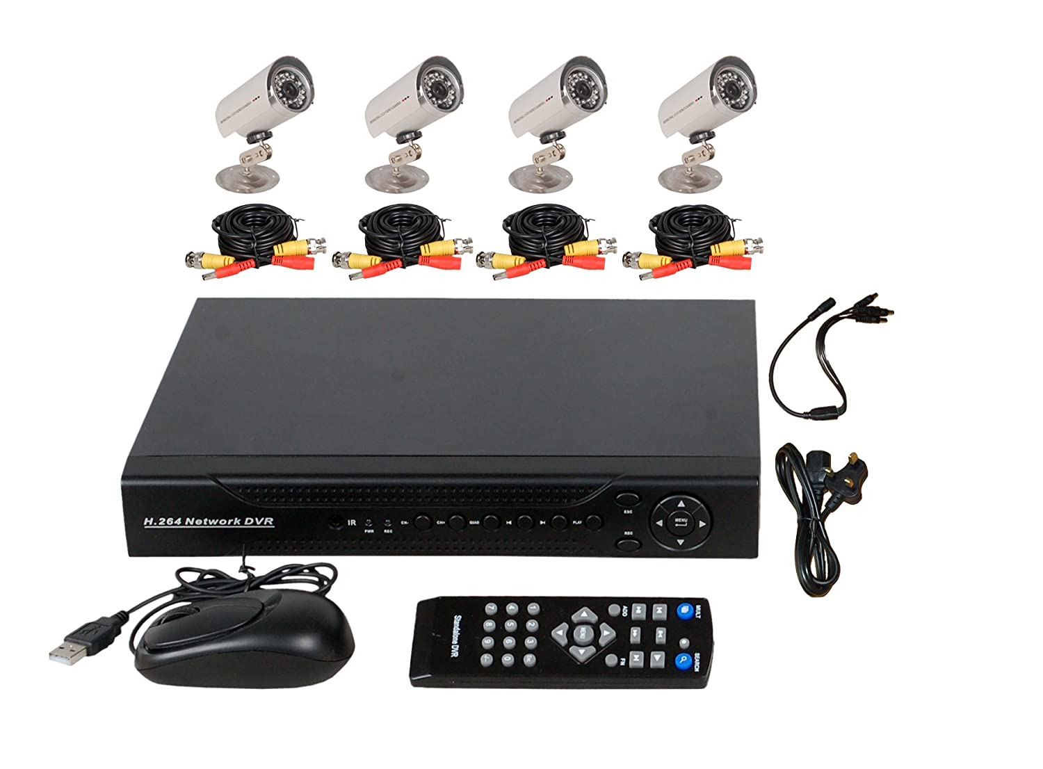 8CH H.264 Surveillance CCTV Security D1 Stand Alone System 1TB HDD