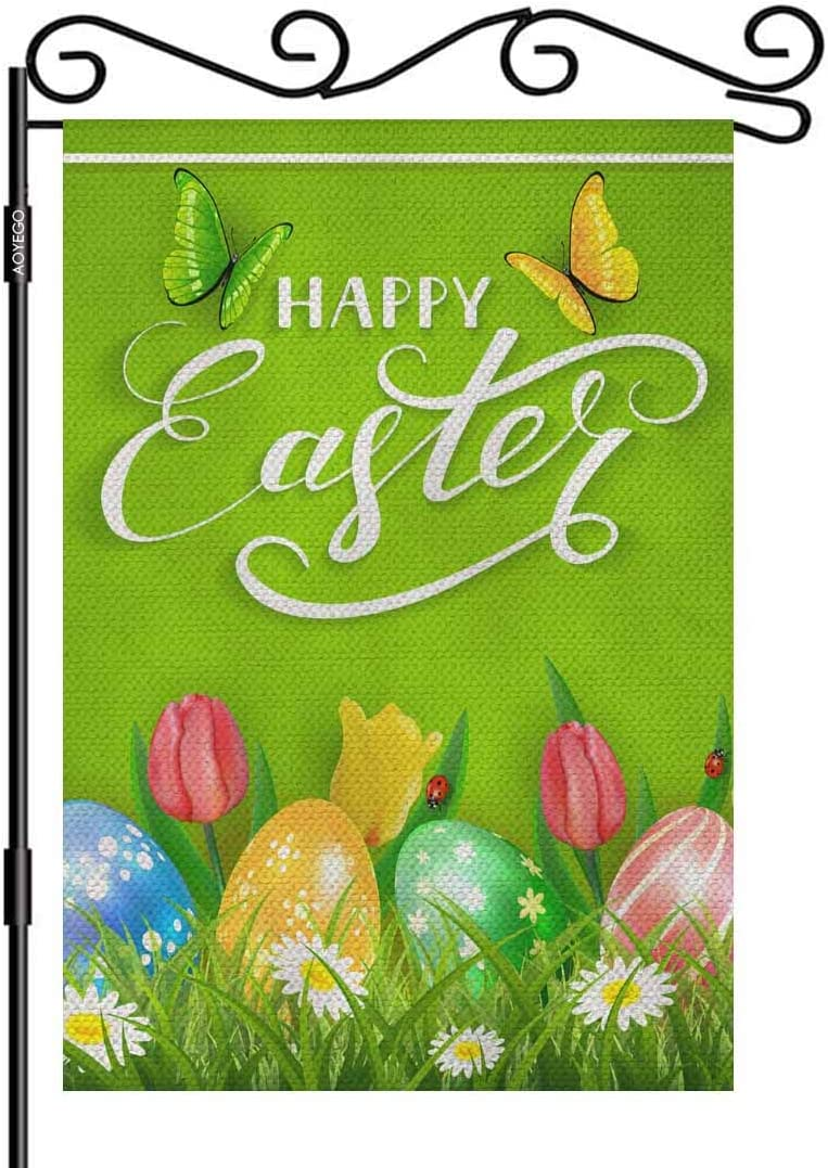 AOYEGO Happy Easter Eggs Small Garden Flag Vertical Double Sided 12.5 x 18 Inch Tulips, Butterflies and Ladybugs Grass on Green Farmhouse Burlap Yard Outdoor Decor