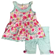 Infant Girls Floral & Polka Dot Baby Outfit Tunic Pink Top & Shorts Set 24m