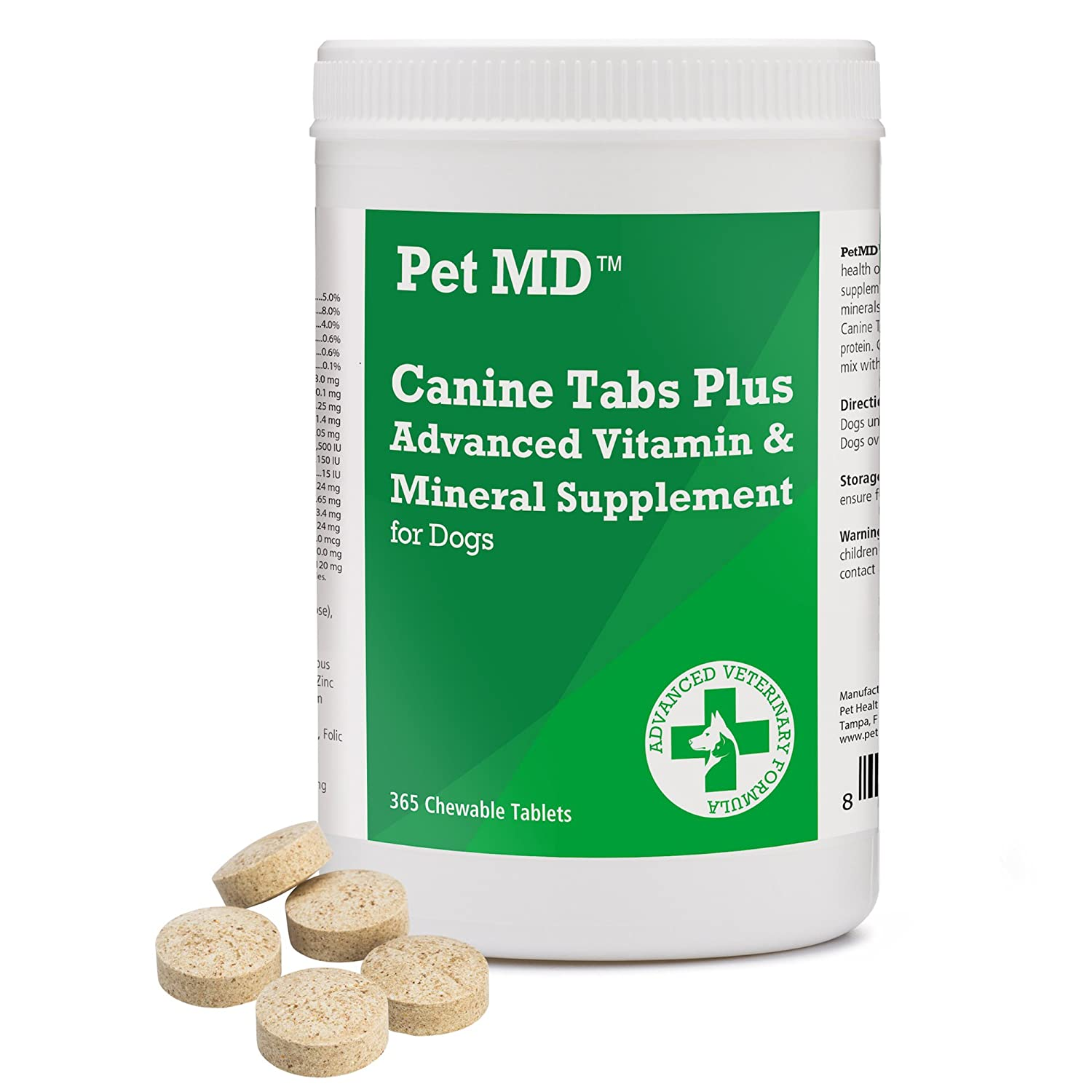 Pet MD - Canine Tabs Plus 365 Count - Advanced Multivitamins for Dogs - Natural Daily Vitamin and Mineral Nutritional Supplement - Liver Flavored Chewable Tablets