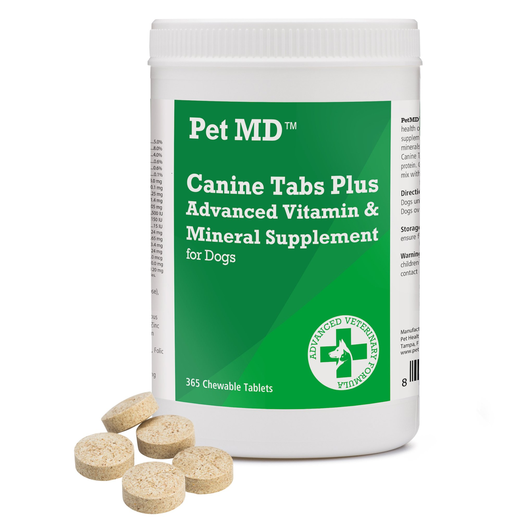Pet MD Canine Tabs Plus 365 Count - Advanced Multivitamins for Dogs - Natural Daily Vitamin and Mineral Nutritional Supplement - Liver Flavored Chewable Tablets