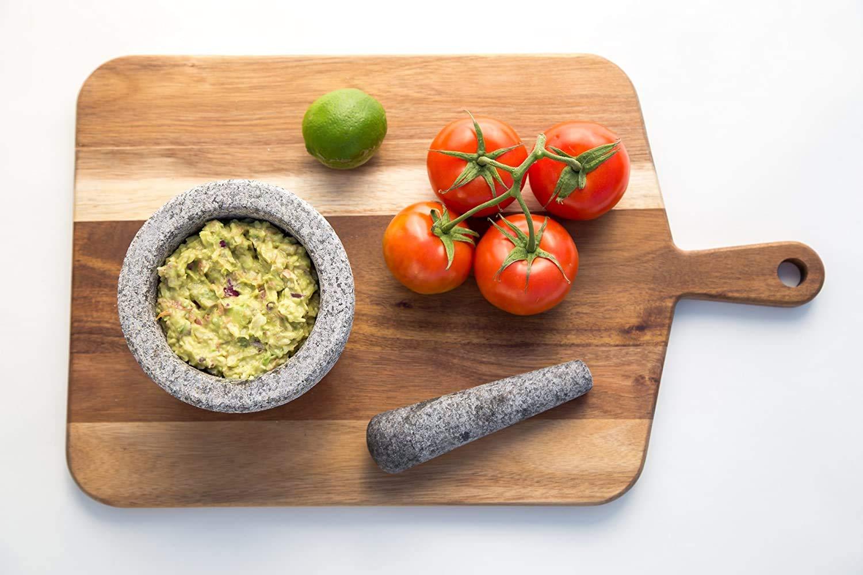 "Kota Japan 6"" Granite Mortar & Pestle Natural Stone Bowl and Grinder Set for Spices, Herbs, Seasonings, Pastes, Pesto and Guacamole with Stylish Ergonomic Design."