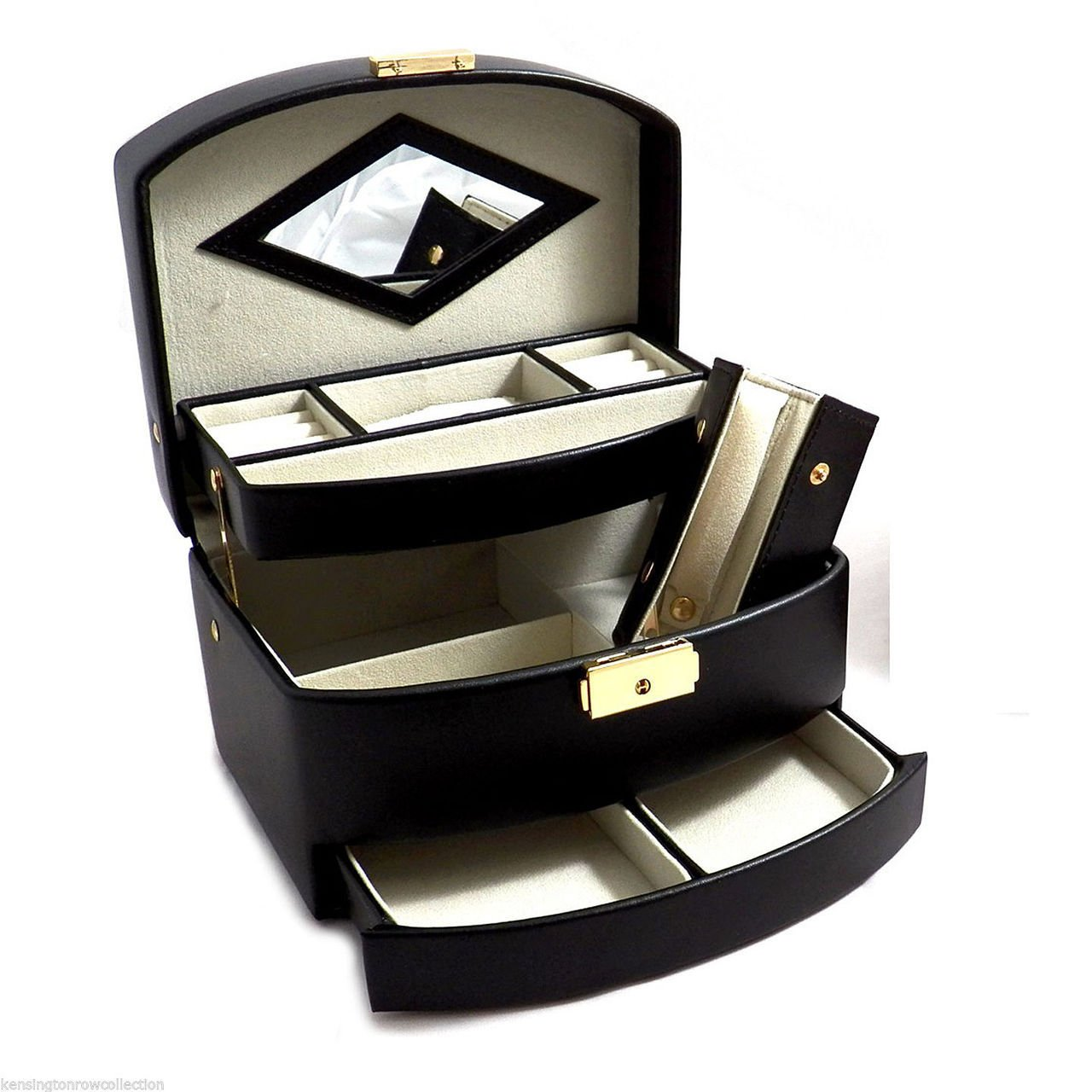 ''SANDRINGHAM'' BLACK LEATHER JEWELRY BOX WITH MIRROR & TRAVEL JEWELRY ROLL by KensingtonRow Home Collection