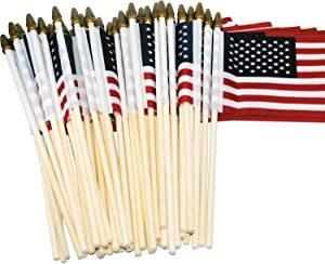 Ashley ZC Pack of 50 USA Wooden Stick Flag, 4 x 6 inch Handheld American Flags/Small American Stick Flags - Golden Spearhead - July 4th Decoration