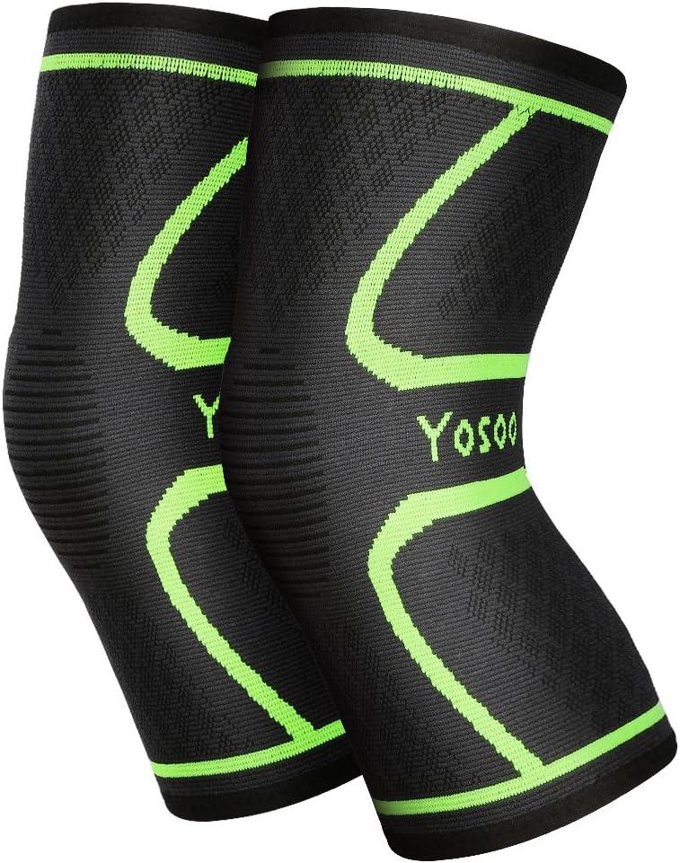 Yosoo Knee Sleeves 1par, Athletic–Rodillera de compresión para Correr, Correr, Senderismo, Baloncesto, Rodilla Lesiones Dolor Artritis Alivio, Hombres & Mujeres Regalo