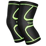 Yosoo Knee Sleeves 1 Paar, Athletic Kompression Kniebandage für Laufen, Joggen, Wandern, Basketball, Knieverletzung Schmerzen Arthritis Erleichterung, Männer & Frauen Geschenk