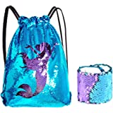 KUUQA Sequin Mermaid Drawstring Backpack Bag with Wristband Bracelet,Magic Reversible Sequins Glitter Hiking Gym Shoulder Bag Birthday Party Favors Gifts(2 Pcs)