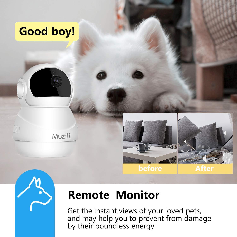 Cámara IP Muzili 1080P HD WiFi Cámara de Vigilancia, Monitor inalámbrico de Seguridad para el hogar con Rotación de 360°, para Bebé/Anciano/Mascota/Oficina: ...