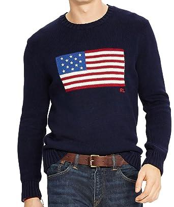 54853dcbb4818f Polo Ralph Lauren Men s Flag Cotton Crew Neck Sweater USA Flag RL  Embroidered at Amazon Men s Clothing store