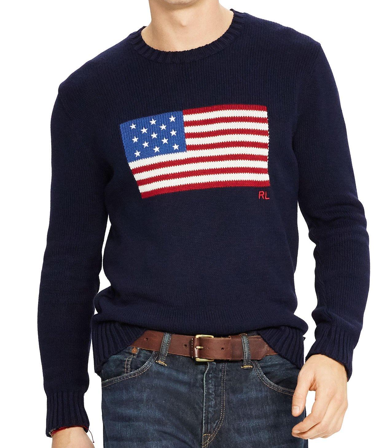Polo Ralph Lauren Men's Flag Cotton Crew Neck Sweater USA Flag RL Embroidered Navy USA Flag Size XX-Large