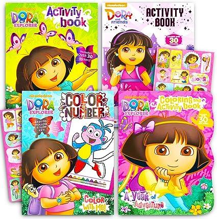 Amazon.com: Dora The Explorer Coloring Book Super Set -- 3 Dora Coloring  Books With Bonus Sticker Bundle (Dora And Friends Party Supplies): Toys &  Games