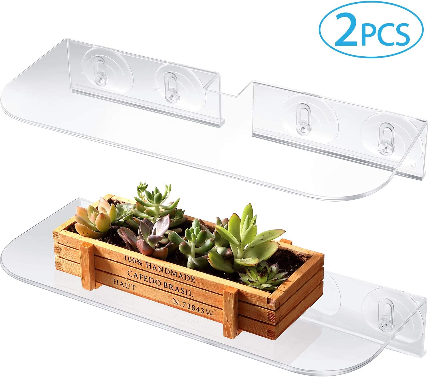 BBTO 2 Pieces Ledge Suction Cup Window Shelf Acrylic Plant Window Shelf Transparent Window Shelf for Creating Indoor Plants Garden, Seed Starter, Figurines on Your Window