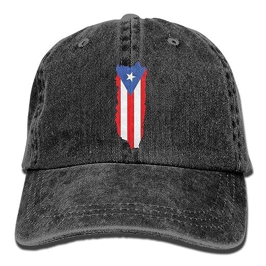 Adjustable Mens Denim Baseball Caps Flag of Puerto Rico Funny Cotton Hats
