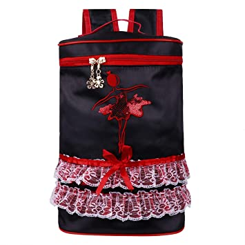 CHICTRY Mochila de Ballet Bolsa Danza Baile Niñas Bordado Mochila Infantil Escolar Bolso de Encaje Nylón con Correas Ajustables de Hombros Negro: Amazon.es: ...