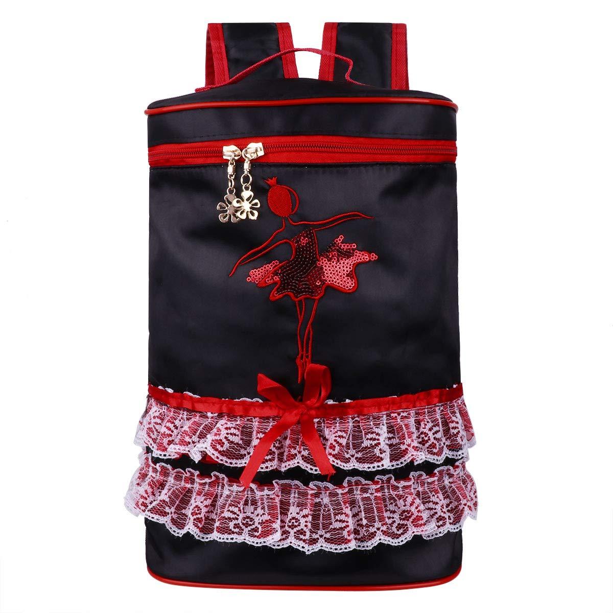 Agoky Bolsa de Ballet de Satén para Niñas Mochila Bordada Infantil de Ballet Danza Bolsa con Encaje Personalizada para Chicas FXD10058154-10058153-ES