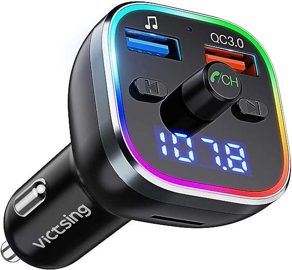 Victsing Fm Transmitter Auto Bluetooth V5 0 Qc3 0 Transmitter Für Auto Bluetooth Mit 7 Farbiges Umgebungslicht Bluetooth Adapter Auto Mit 2 Usb Anschlüsse Unterstützt Tf Karte Usb Stick Navigation