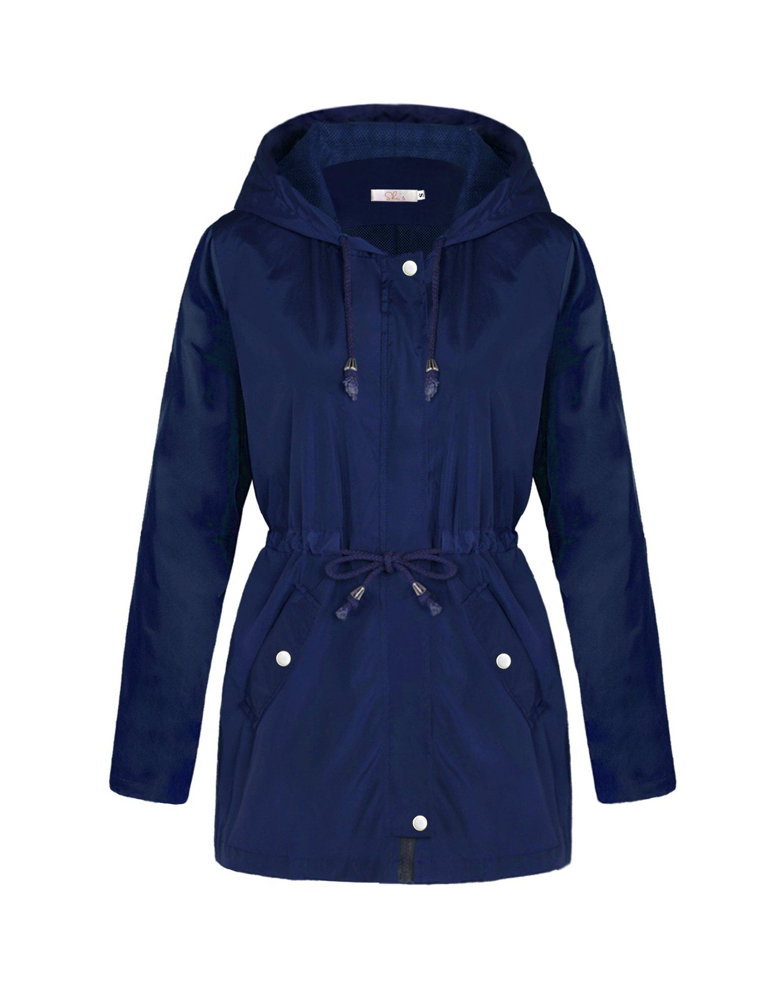A Blues Man Womens Lightweight Lining Hooded Waterproof Outdoor Zipper Rain Jacket Blue Button L