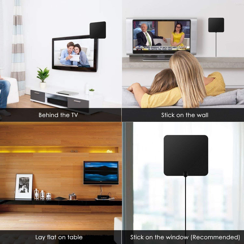 Antena Interior TV, Antena de TV Digital HD para Interiores con Portatil Amplificador Gratuita con Cable Coaxial de 5M, 4K 1080P, Antena de TV más Potente: Amazon.es: Electrónica
