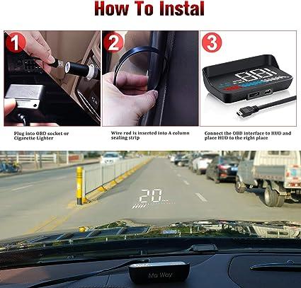 HOTEU Auto-Auto-HUD-Head-Up-Display 3 Zoll Universal-/Übergeschwindigkeitswarnung Wassertemperaturprojektor Windschutzscheiben-Diagnose C100-HUD-Zubeh/ör