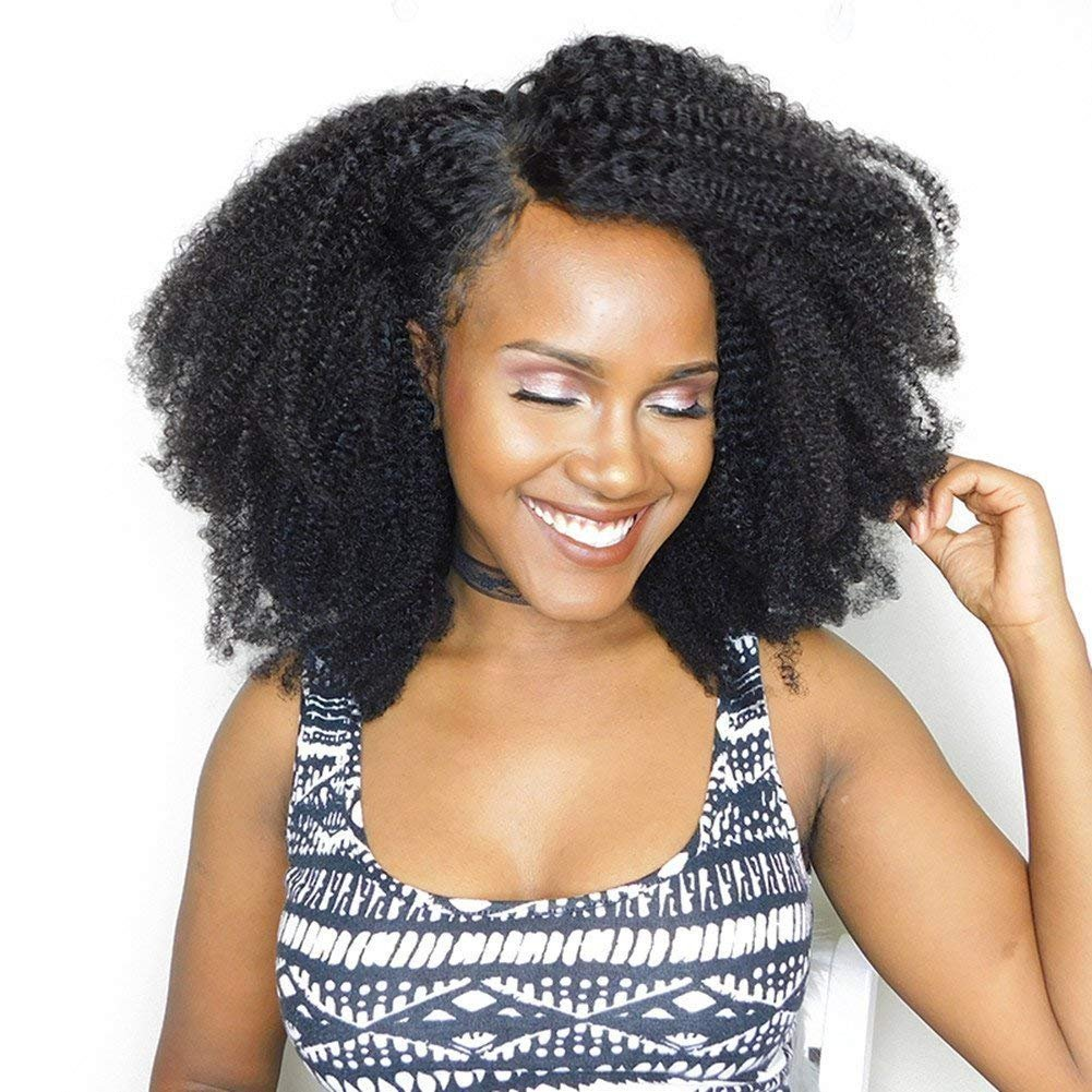 Unprocessed Virgin Mongolian Afro Kinky Curly Human Hair 3 Bundles Hair Weave Weft for Black Women Natural Black(14 14 14 inch) by NEWFB