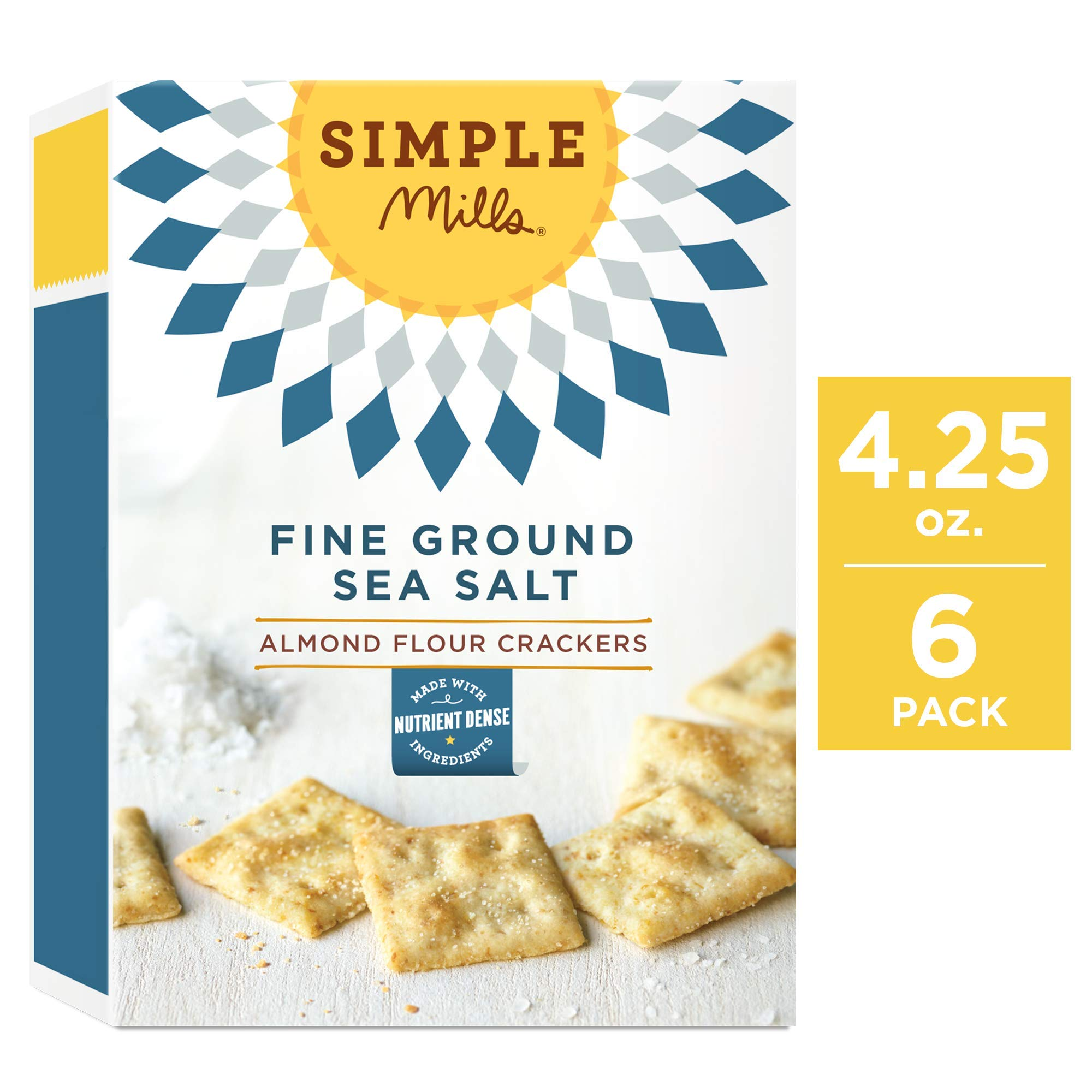 Simple Mills Almond Flour Crackers, Fine Ground Sea Salt, 4.25 Ounce (Pack of 6) by Simple Mills