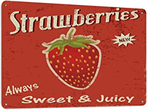 Beabes Strawberries Tin Signs Vintage Style Wall Art Summer Fruit Vintage Metal Tin Signs for Men Women Wall Art Decor for Home Bars Clubs Cafes